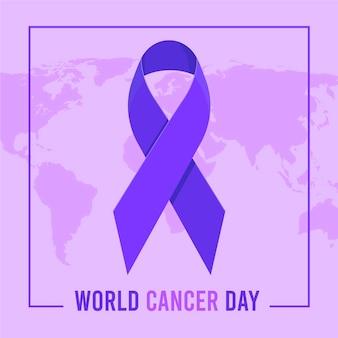 Płaska wstążka światowego dnia raka na mapie świata