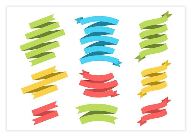 Płaska wstążka szablon transparent wektor ilustracja kolekcji. kolorowe etykiety z kręconymi wstążkami