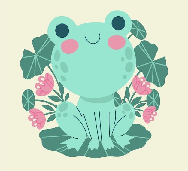 Płaska żaba z dużymi oczami ilustracja