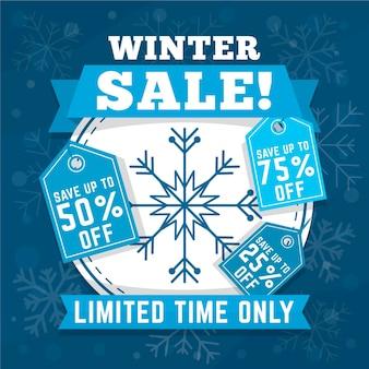 Płaska zimowa promocja sprzedaży z tagami