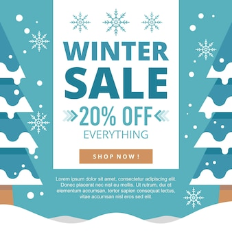 Płaska zimowa wyprzedaż promocyjna z ofertą specjalną