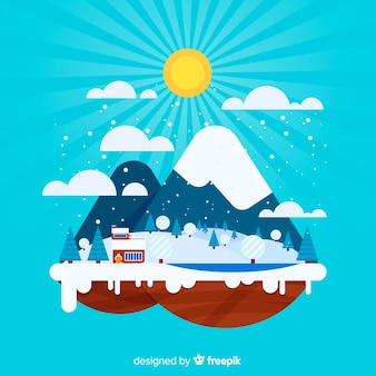 Płaska zimowa wyspa tła