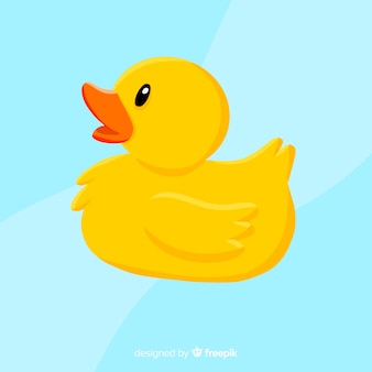 Płaska żółta gumowa kaczka na wodzie