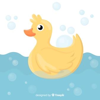 Płaska żółta gumowa kaczka z wodą