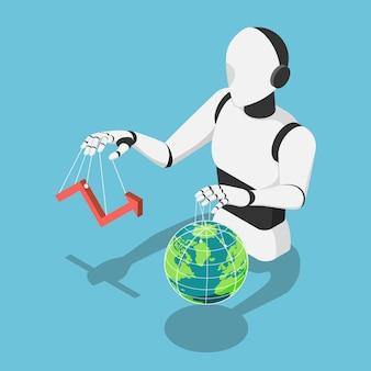 Płaski 3d izometryczny ai robot kontrolujący rynek finansowy wykres i the world globe. ai artificial intelligence control infrastruktura całej planety i koncepcja technologii uczenia maszynowego.