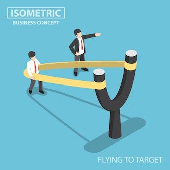 Płaski 3d izometryczny biznesmen przygotowuje się do lotu katapultą procy w kształcie litery y, uruchamia koncepcję rozwoju biznesu i kariery
