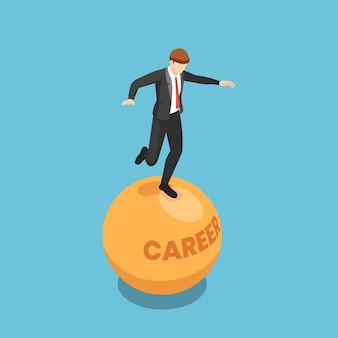 Płaski 3d izometryczny biznesmen stoisko i balansowanie na niestabilnej piłce kariery. niestabilna koncepcja pracy i biznesu.