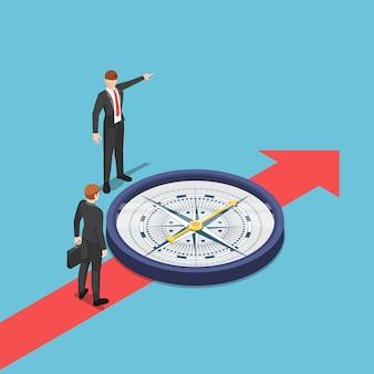 Płaski 3d izometryczny biznesmen z kompasem doradza swojemu partnerowi, aby iść właściwą drogą. koncepcja konsultanta biznesowego.