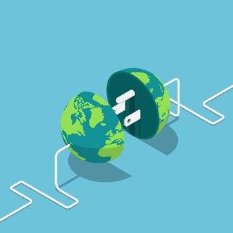 Płaski 3d izometryczny globus ziemi jako wtyczka i gniazdo połączone ze sobą. globalna koncepcja komunikacji internetowej i połączenia sieciowego.