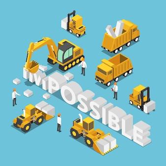 Płaski 3d izometryczny pojazd budowlany niszczy i zmienia słowo niemożliwe do możliwego. koncepcja rozwiązania biznesowego.