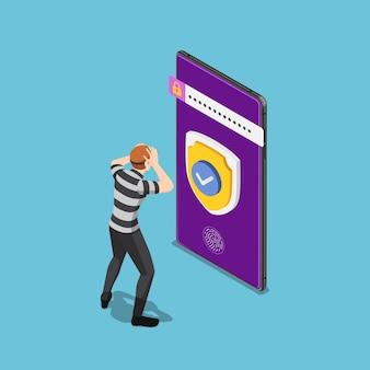 Płaski 3d izometryczny złodziej lub haker nie włamał się do smartfona z systemem bezpieczeństwa. koncepcja bezpieczeństwa cybernetycznego i ochrony danych.