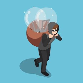Płaski 3d izometryczny złodziej ukradł żarówkę pomysłu i niósł na plecach. ukraść koncepcję pomysłu.