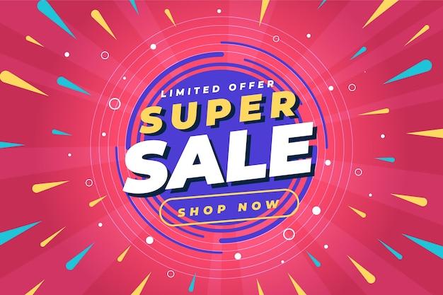 Płaski abstrakcyjny baner sprzedaży z ofertą