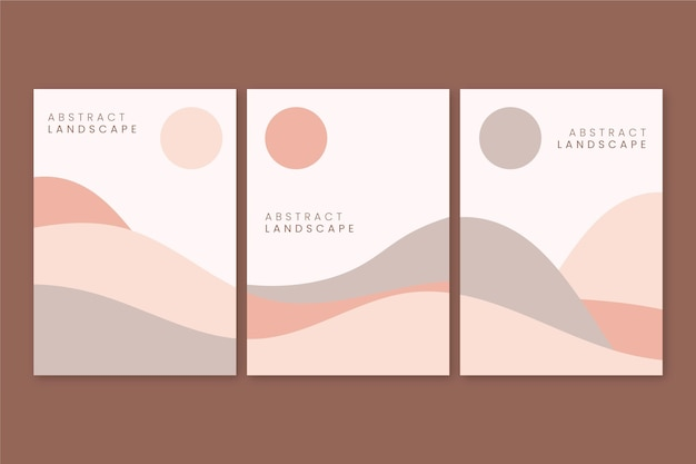 Płaski abstrakcyjny krajobraz obejmuje kolekcję