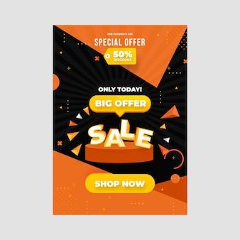 Płaski abstrakcyjny szablon plakatu sprzedaży