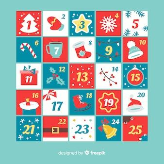 Płaski adwentowy kalendarz świątecznych elementów