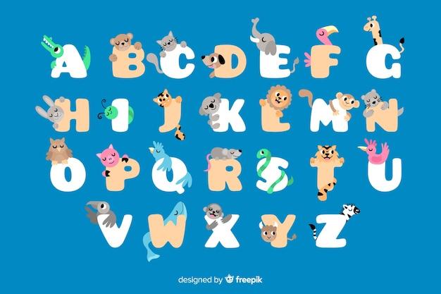 Płaski alfabet zwierząt