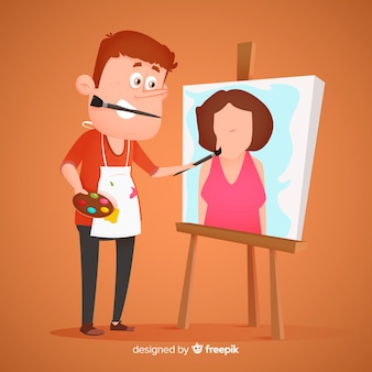Płaski artysta malujący w pracy