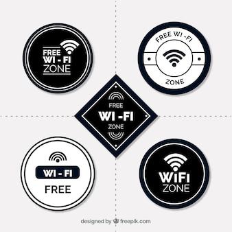 Płaski asortyment naklejek z biało-czarnymi naklejkami wifi