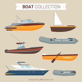 Płaski asortyment różnorodności łodzi