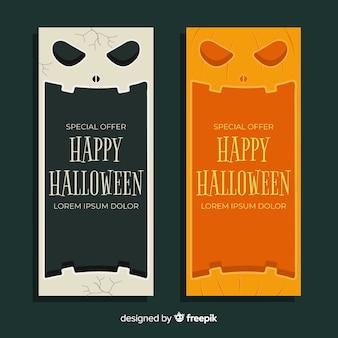 Płaski baner halloween z ofertą specjalną