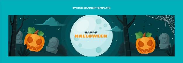 Płaski baner halloweenowy twitch