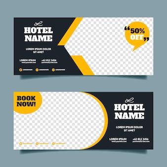 Płaski baner hotelowy z przezroczystą przestrzenią