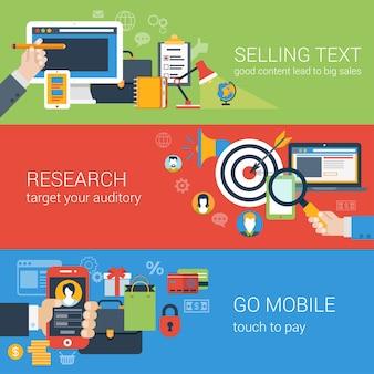 Płaski baner internetowy nowoczesny biznes online marketing promocyjny zestaw ikon