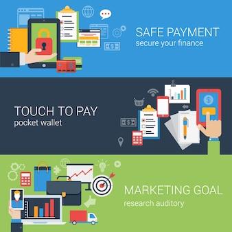 Płaski baner internetowy nowoczesny biznes online zestaw ikon bezpieczeństwa płatności