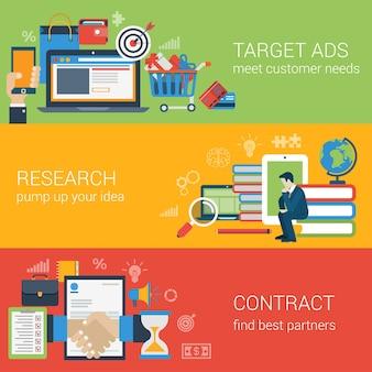Płaski baner internetowy nowoczesny zestaw ikon partnerstwa marketingu cyfrowego