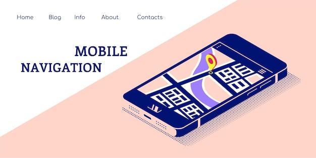 Płaski baner koncepcja do nawigacji mobilnej. smartfon w widoku izometrycznym z mapą i wskaźnikiem na ekranie. ilustracja płaski.