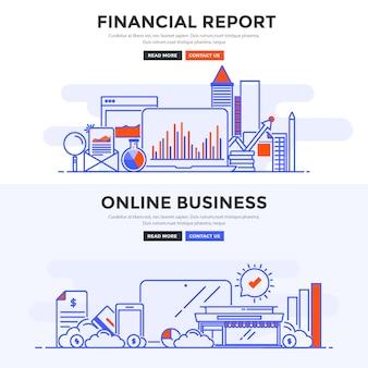 Płaski baner raport finansowy i biznes online