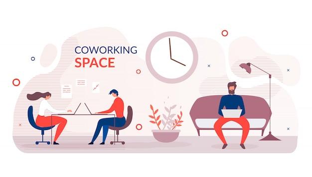 Płaski baner reklamowy nowoczesnej przestrzeni coworkingowej
