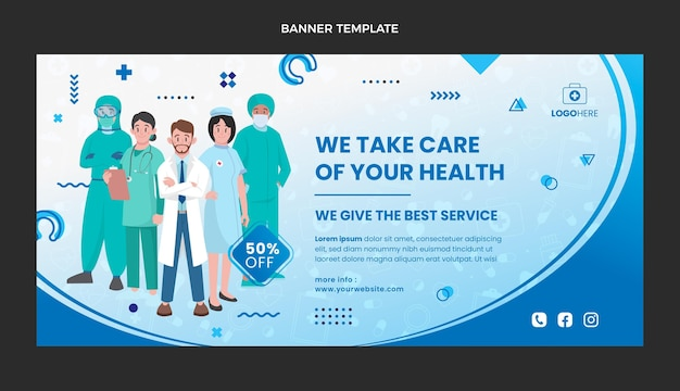 Płaski baner sprzedaży medycznej