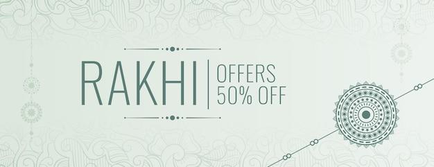 Płaski baner sprzedaży raksha bandhan ze szczegółami oferty