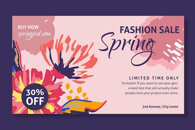 Płaski baner sprzedaży wiosny