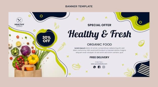 Płaski baner sprzedaży zdrowej i świeżej żywności