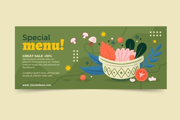 Płaski baner sprzedaży żywności