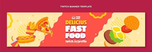 Płaski baner twitch fast food