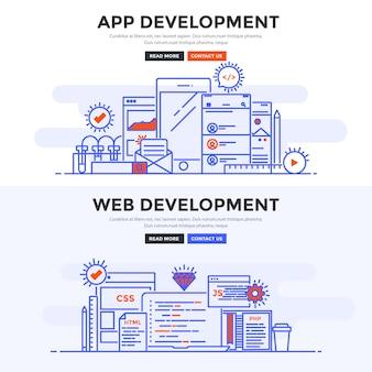 Płaski baner tworzenie aplikacji i tworzenie stron internetowych