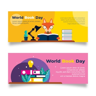 Płaski banery światowy dzień książki