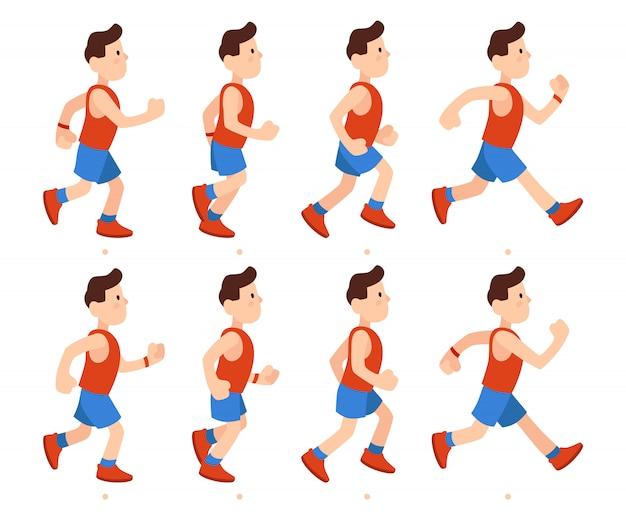 Płaski biegnący mężczyzna