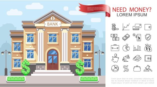 Płaski biznes i finanse kolorowe pojęcie z ilustracją ikon finansowych i bankowych budynku banku,