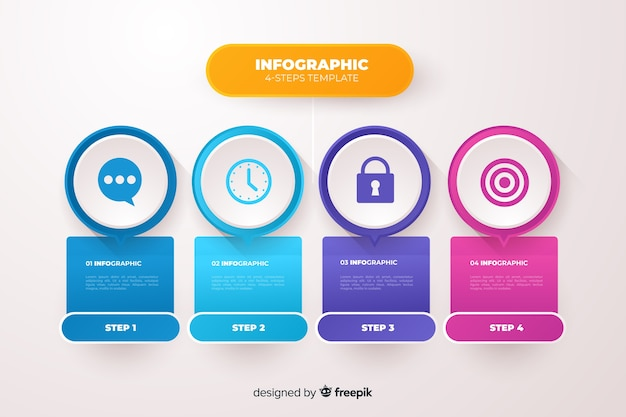 Płaski biznes infografiki kroki szablon