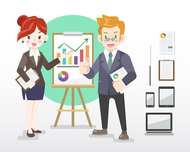 Płaski biznesmen i kobieta w czarnym garniturze z ilustracją gadżetów