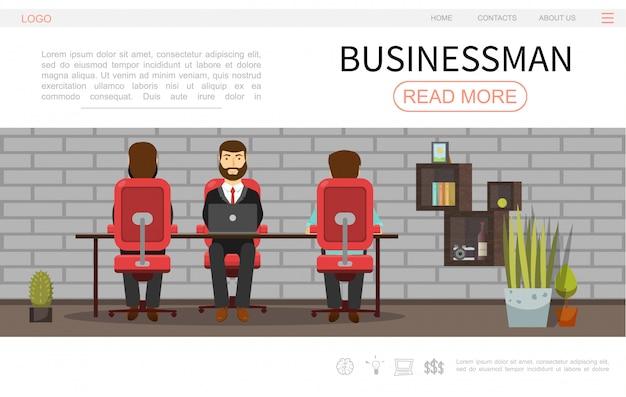 Płaski biznesmen kolorowy szablon strony internetowej z ludźmi biznesu pracującymi w biurze rośliny półki i projekt ściany z cegły