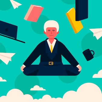 Płaski biznesmen medytuje z książkami
