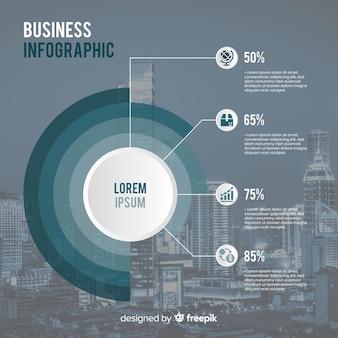Płaski biznesowy infographic z fotografią