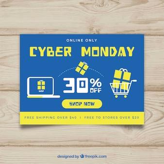 Płaski błękitny i żółty plakat cyber posterunkowy poniedziałku