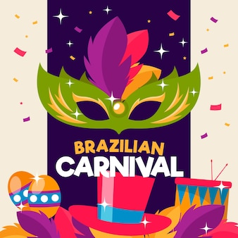 Płaski brazylijski karnawał z zieloną maską